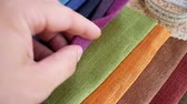 hessian : Set Of Fabric Samples. Clothing Designer Or Tailor Working And Choose Textile Textures Fabric Swatches. Choice of Fabrics Tissue Samples for Upholstery Or Clothing Stock Footage