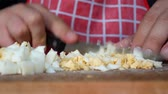 hard boiled eggs : Crumble or choping chicken boiled egg in the kitchen