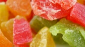 preservar : Candied fruit mix turns. Close up Turkish Delight Colorful Sweet Candy Delicious Concept as background turns Stock Footage