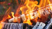 tirol : Burning Wood In The Fireplace Stock Footage