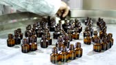 eczane : Worker in a protective gown arranges and collects glass brown bottles with liquid after conveyor on factory Stok Video