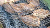 pimenta : Grill set with fish for home party on nature outdoor