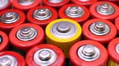 bidone : Collection of old used AAA batteries. Electronic waste, collection and recycling, high danger for environment concept
