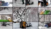削除する : Montage composition collage of people works with snow blower in winter. Video wall with multiple moving footage at snow removal work after storm in city 動画素材