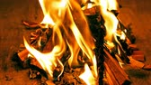 Preparing fire for barbecue in indoor fireplace close up