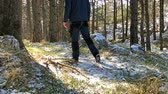 Young man walking on frozen ground in forest on sunny day slow motion low view