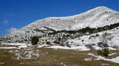 Nature park and mountain Biokovo in Croatia landscape on sunny winter day motion view