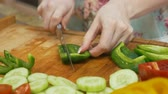Close Up Cutting Green Bell Pepper Stock Footage