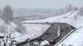 squall : Bad Weather Snow Storm Traffic Stock Footage