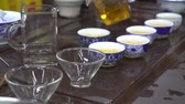 tea bowl : Woman pouring black tea in small containers. Chinese tea shop. Tea tasting Stock Footage
