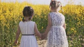 рапсовое : Two little girls go to the rapeseed field