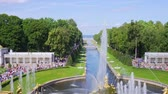 Panorama of the park with fountains. Peterhof Stock Footage