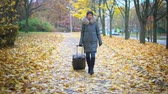 Woman with a suitcase in an autumn park Stock Footage
