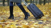 A woman is carrying a suitcase in an autumn park.