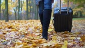 walizka : A woman is carrying a suitcase in an autumn park.