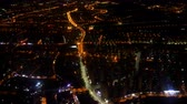 silnice : Flying over the night city. View from the plane.