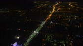뉴욕 : Flying over the night city. View from the plane.
