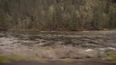 renovar : River swollen with snow melt on a cloudy spring morning Stock Footage