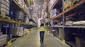 4k : Warehouse worker walks through rows of warehouse Stock Footage