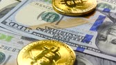 Банкнота : Gold bitcoins and dollars. New and old money. Virtual money Стоковые видеозаписи