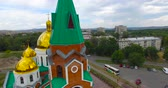 roof : The church in Ust-Kamenogorsk city. Stock Footage