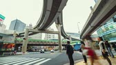 tokio : People and traffic time lapse at a big intersection in Tokyo