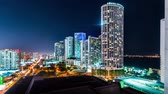 building exterior : Timelapse of Miami from above at night Stock Footage