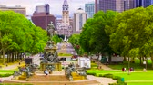 franklin : Time-lapse of the Benjamin Franklin Parkway with City Hall in the background, from the top of the steps of the Philadelphia Museum of Art.