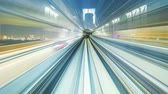 seyahat : POV timelapse through Tokyo tunnels via the automated guideway transit Stok Video