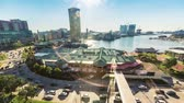 rychlost : Aerial view timelapse of Baltimore Inner Harbor during morning rush hour.