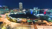 rychlost : Aerial view timelapse of Baltimore Inner Harbor at night