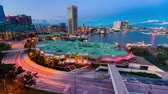 rychlost : Aerial view timelapse of Baltimore Inner Harbor from twilight to dark.