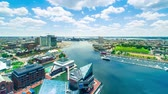 seyahat : Aerial view time-lapse of Baltimore Inner Harbor