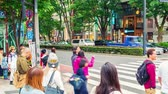 рынок : People crossing the street outside Tokyu Plaza, Omohara, Tokyo, Japan, in panning time-lapse Стоковые видеозаписи