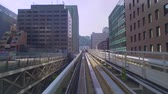 veículo : Point of view real-time ride through Kobe Japan on the Portliner Monorail