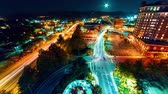 Timelapse of the city lights of Asheville, North Carolina at night Stock Footage