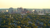 establishing shot : New Haven, CT from atop East Rock Park with a view of downtown