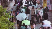 chodec : TOKYO - JUNE 7 2015: People walk down the street outside Shinjuku Station, Shinjuku, Tokyo, Japan in the night rain Dostupné videozáznamy