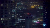 seyahat : View of Downtown Los Angeles at night Stok Video