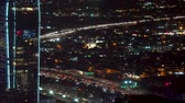 manzara : View of Downtown Los Angeles traffic at night Stok Video