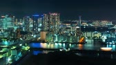 baía : Time-lapse of Tokyo Bay at night with boats