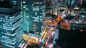 Time-lapse of Tokyo at night near Hamamatsuch� from above