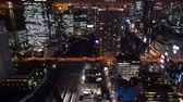 tokyo : Tokyo at night near Hamamatsuchō from above Stock Footage