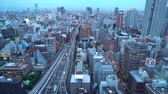 Large highway in Osaka, Japan at twilight Stock Footage