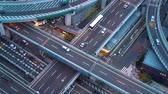 Big highway intersection in Osaka, Japan at twilight