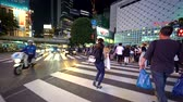 editorial : TOKYO, JAPAN - SEP, 25 2017: People cross the famous intersection in Shibuya, Tokyo, Japan one of the busiest crosswalks in the world.