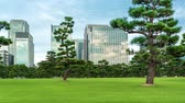 tokio : Time-lapse of traffic passing behind Hibiya park in Chiyoda, Japan near the imperial palace