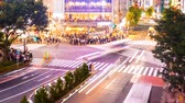 intersection : Time-lapse of the famous scramble intersection in Shibuya, Tokyo, Japan Stock Footage
