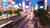 TOKYO, JAPAN - SEP, 25 2017: People and traffic cross the famous scramble intersection in Shibuya, Tokyo, Japan in time-lapse