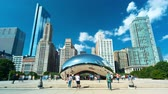 chicago : CHICAGO - SEPT. 18th 2018: Tourists visit the Cloud Gate, a public sculpture in Millennium Park in time-lapse. Stock Footage
